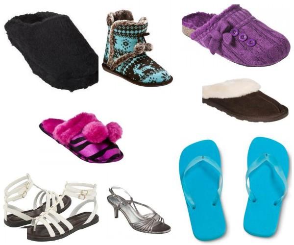 Flip flops, gladiator sandals, t-strap sandals, backless slippers, slides, slipper boots